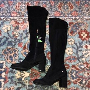 Black Over-the-Knee Suede Boots
